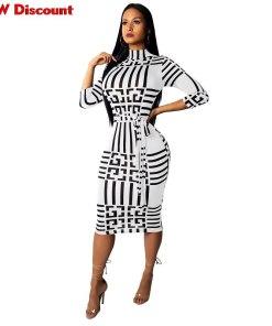 Dress 2020 To The Knee Women Stand Neck Wrist Sleeve Striped Print Sashes Party Bodycon Midi Dress Vestidos Dress Woman Sukienka