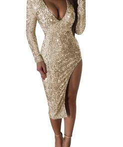 Christmas Evening Party Dress Women Night Club Sequin Flake Dress V-neck Sexy Bodycon Midi Dress Red Gold Elegant Ladies Clothes