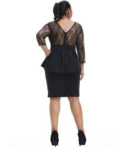 6XL Vintage Lace Patchwork Dress Elegant Women Plus Size Party Dress vestidos Slim Fit Knee Length Club Dresses Streetwear D30