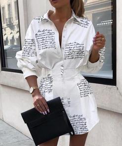 Letter print sexy mini short shirt dress Women white long sleeve party club dress Winter autumn elegant bodycon dress