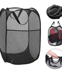 2 Pc Pop Up Folable Laundry Basket Mesh Hamper Washing Clothes Bag Storage Bin