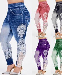 Leggings Women Jeggings Imitation jeans Printed Gym Stretch Sports Pencil Pants Plus Size Leggings Women Sweatpants Trousers