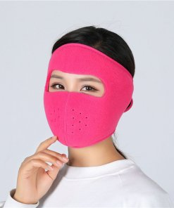 Motorcycle Cycling Ski Cold Winter Cold-proof Ear Warmer Sports Half Face Mask Rose red_free size