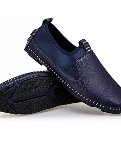 Men's Moccasin Leather / PU Fall Casual Loafers & Slip-Ons Non-slipping Black / White / Blue