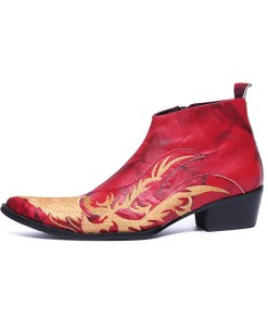 Men's Fashion Boots Nappa Leather Winter / Fall & Winter Vintage / Chinoiserie Boots Warm Booties / Ankle Boots Red / Party & Evening / Party & Evening / Combat Boots