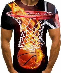 Men's Daily Going out Basic / Street chic T-shirt – 3D / Graphic / Flame Patchwork / Print Black