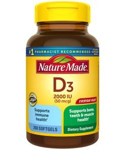 Nature Made Vitamin D3 2000 IU (50 mcg) Softgels, 260 Count Everyday Value for Bone Health†