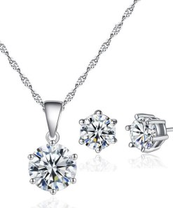 Fashion 925 Sterling Silver Pendant Necklace and Earrings Set