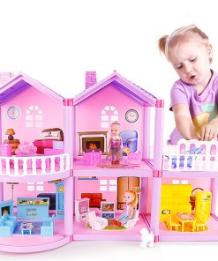 House doll house villa DIY assembled house (Pink)