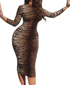 SASABLUE Womens Leopard Print Slim Fit Long Sleeve Sexy Dress Party Evening Cocktail Club