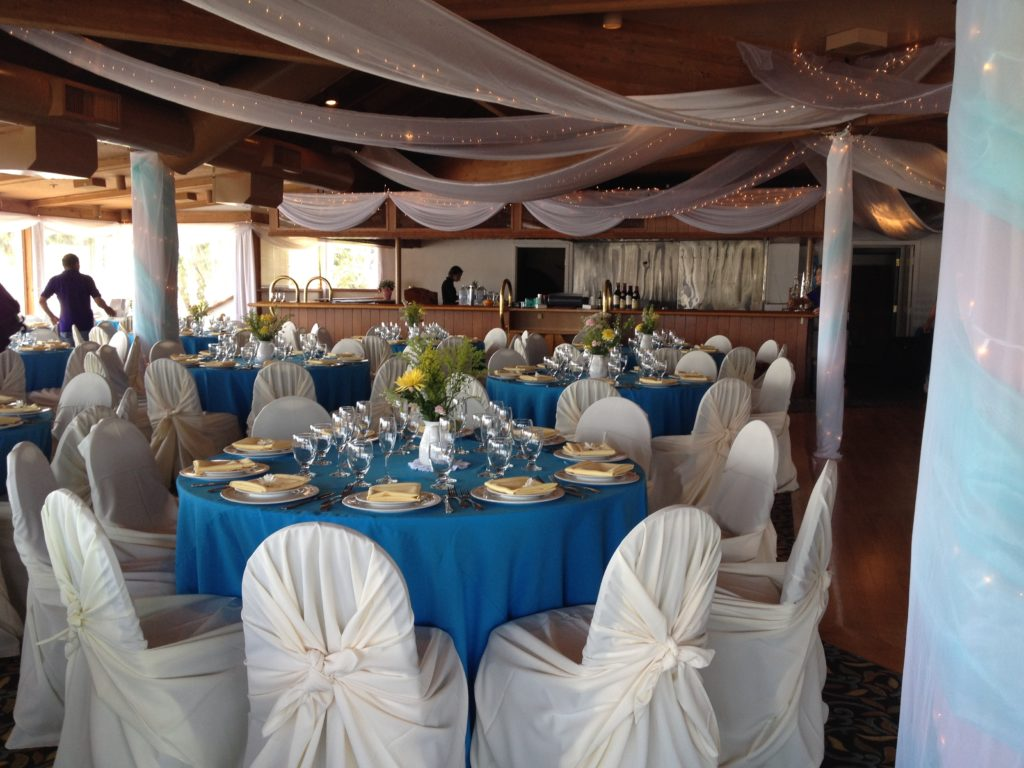 cheap chair covers and linens catalina lounge marina village weddings - patty's linen rentals