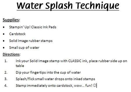 Watersplash instructions