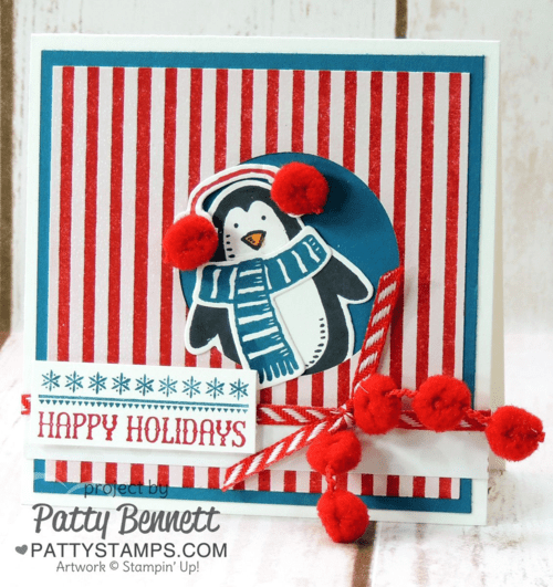 Penguin card featuring Snow Place and Snow Friends stamps and dies from Stampin Up!  Happy Holidays stamp featured in the Six Sayings Hostess set. Card by Patty Bennett