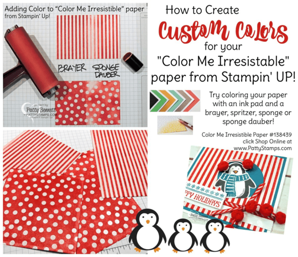 """Custom Color the """"Color me Irresistible"""" paper from Stampin' UP! to create fun patterned paper in any color."""