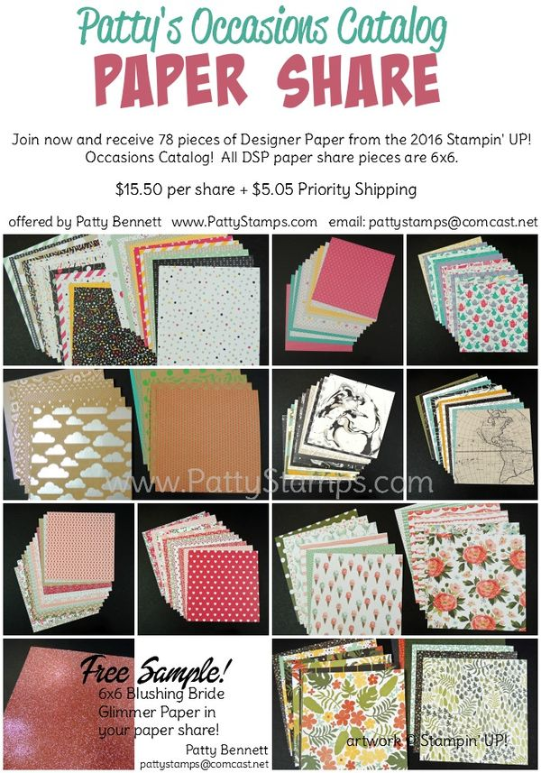 Occasions catalog paper share patty bennett