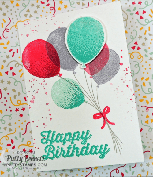 Stamp colorful birthday or congrats cards with the Stampin Up! Balloon Celebration stamp set and coordinating Balloon Bouquet punch from the 2016 Occasions Catalog!  by Patty Bennett www.pattystamps.com