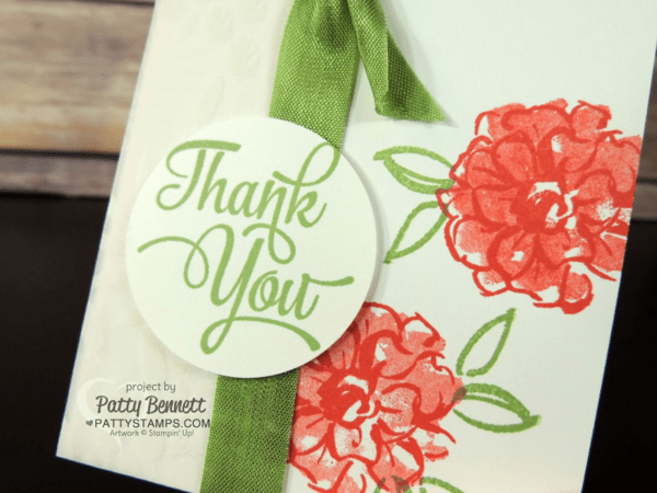 Stampin' Up! Sale a Bration What I Love card.  Notecard with Botanical Vellum by Patty Bennett at pattystamps.com