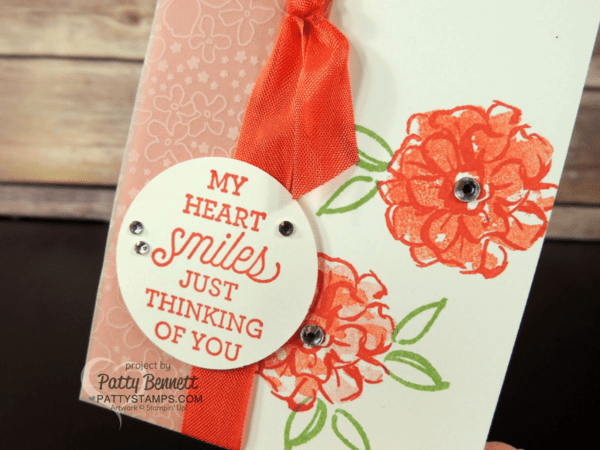 Stampin' Up! Sale a Bration What I Love card.  Notecard with Botanical Vellum and rhinestones by Patty Bennett at pattystamps.com