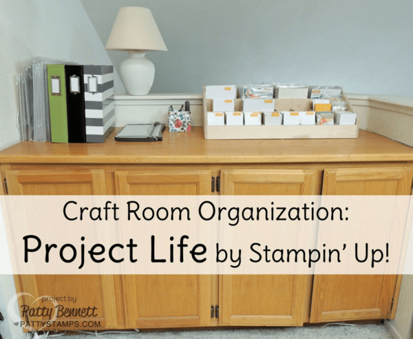 Patty's Craft Room Makeover Project Life counter organized for memory keeping with Stamp n Storage card organizer.