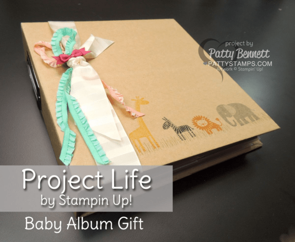 Project Life Baby Girl album - gift for a new mom to record baby's photos and first 12 months of life.  Quick and easy scrapbook gift idea for the new mom by Patty Bennett #plxsu