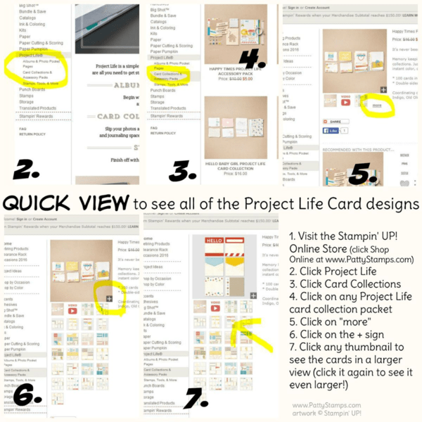 Quick way to view all of the Stampin Up project life cards in the online store #PLXSU