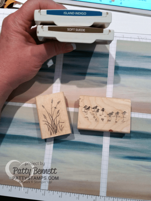 Color combo for Wetlands Serene Scenery Note Cards by Patty Bennett featuring Stampin' UP! paper stack and stamps.  Easy way to make a whole set of note cards - watch the video tutorial to see how to cut your 6x6 paper to maximize use with the Note Cards.