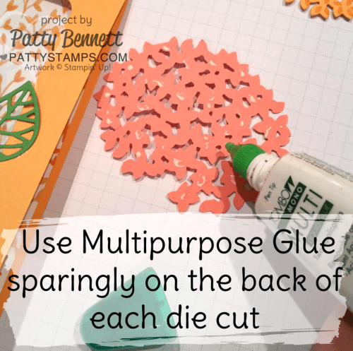 Die Cut Tip:  Use Multipurpose Glue or Fine-Tip Glue Pen sparingly when adding adhesive to intricate dies.