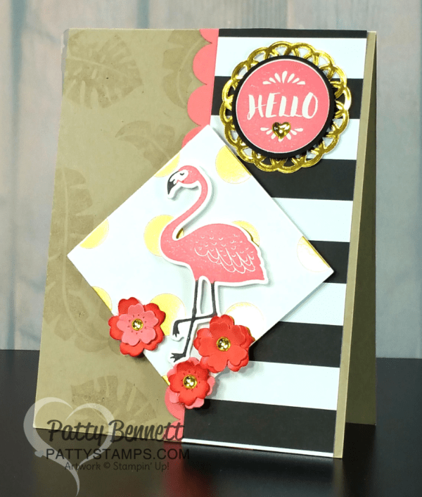 Pop of Paradise Stampin' Up! Flamingo card with gold doily and gold metallic shape accents - designed by Cindee, stamped by Patty Bennett
