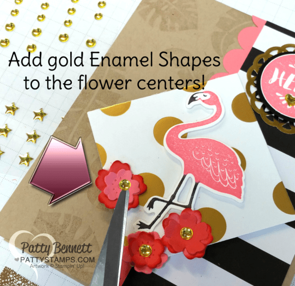 Add Gold Metallic enamel shapes to the center of die cut or punched flowers for a pop of glitz and glam!  Pop of Paradise flamingo Stampin' Up! Card.