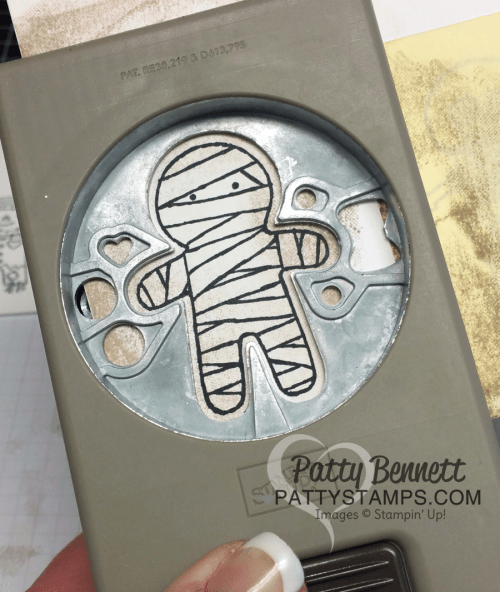 Cookie Cutter Halloween mummy punch tip: always stamp your image first, then flip the punch over to punch out a perfectly aligned image.