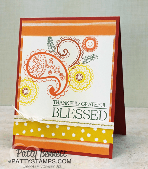 Stampin' UP! Paisleys & Posies stamp set card collection featuring Petals & Paisleys specialty DSP, by Patty Bennett