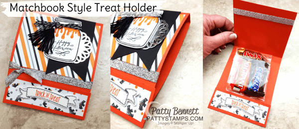 Halloween Night & Jar of Haunts Halloween card - matchbook style goodie treat bag project by Patty Bennett featuring Stampin' Up! products