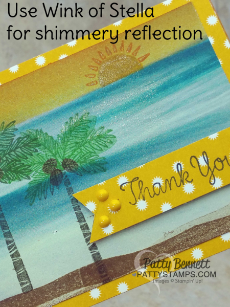 Stampin' Up! Totally Trees note card featuring Serene Scenery ocean print paper and stamped palm trees by Patty Bennett