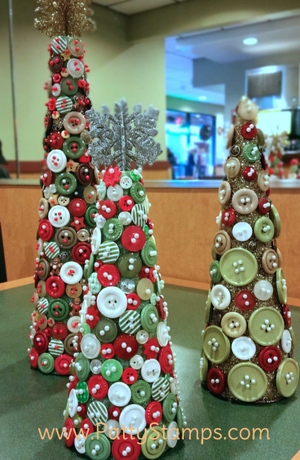Button Christmas Trees featuring retired Stampin Up! buttons and styrofoam cones by Patty Bennett, Joy and Roxy
