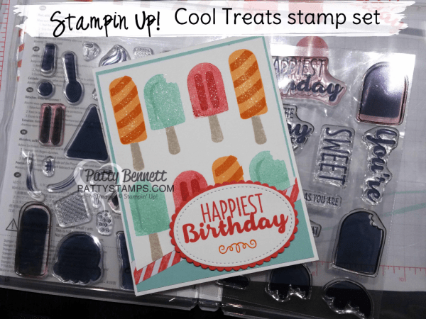 Cool Treats ice cream birthday card featuring new Occasions catalog Stampin' Up! stamp set! by Patty Bennett