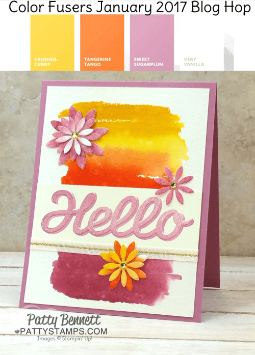 Stampin Up! Occasions catalog Succulent Garden framelit die flowers, Vertical Garden Hello stamp and watercolor wash background card.  Color Fusers January 2017 color combo. Card by Patty Bennett