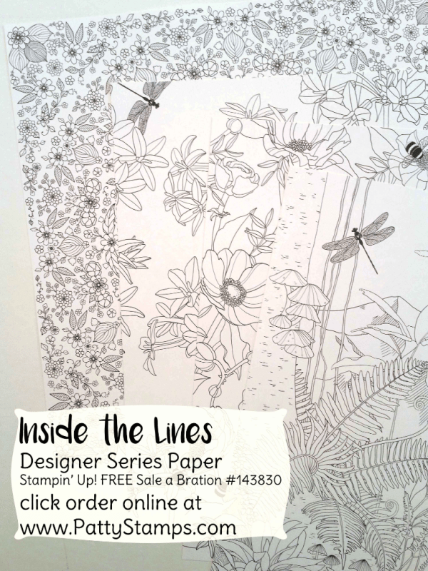 "Stampin Up! Inside the Lines ""coloring book paper"" - free gift choice with $50 purchase in my online store through March 30, 2017, www.pattystamps.com"