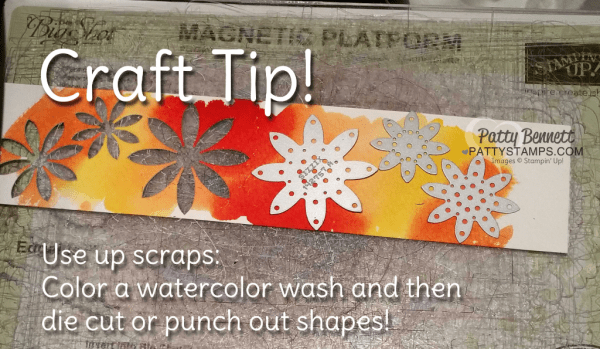 Watercolor Wash craft tip.. use up scraps of watercolor paper by dabbing on color and then die cutting or punching shapes! by Patty Bennett