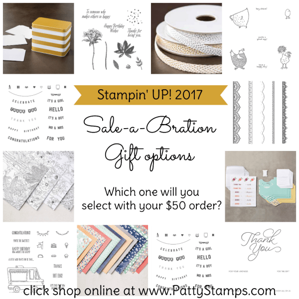 Sale a Bration gift options from Stampin' Up! Jan. 4 - March 31, 2017.  Click shop online at www.PattyStamps.com