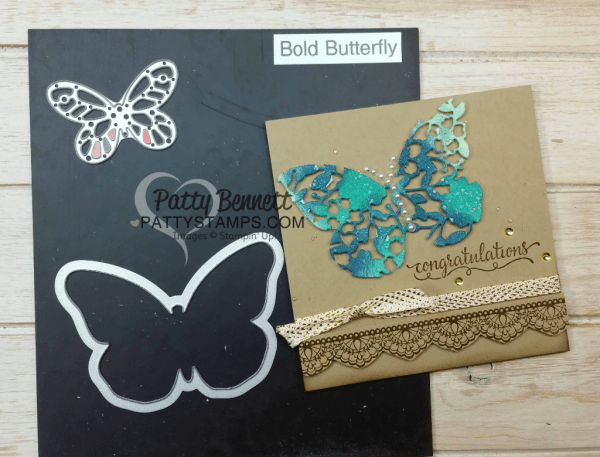 Bloomin' Heart thinlit die card idea featuring Stampin' UP! Bold Butterfly framelit. Video tutorial by Patty Bennett