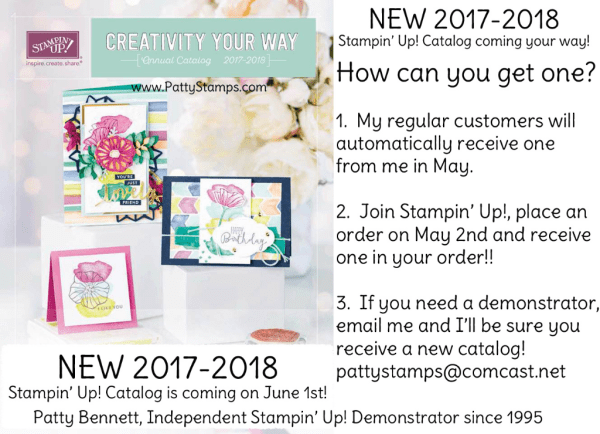 How to get a new 2017 - 2018 Stampin' Up! catalog from Patty Bennett