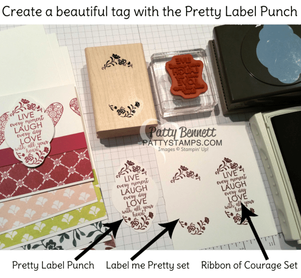 How to stamp a punched tag with the Pretty Label punch and the Label Me Pretty and Ribbon of Courage stamp sets from Stampin' UP!.