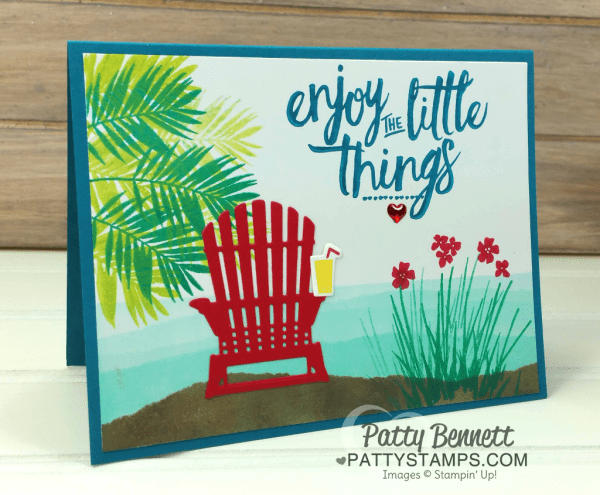 Glossy paper beach chair card featuring the Stampin' UP! adirondak chair framelit die from the Seasonal Layers framelits.  Watch the free video tutorial on my blog to make this card. By Patty Bennett, Stampin' UP! demonstrator.