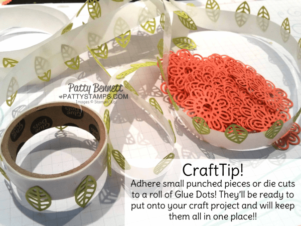 Craft Tip! Adhere tiny die cuts or punched pieces to a roll of glue dots so they are ready to use on your crafting project!