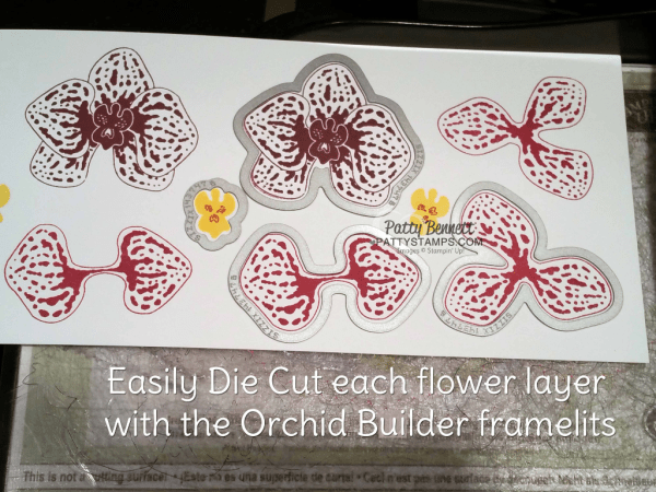 Die Cutting Orchid Builder framelits with the Magnetic Platform and Big Shot from Stampin Up!