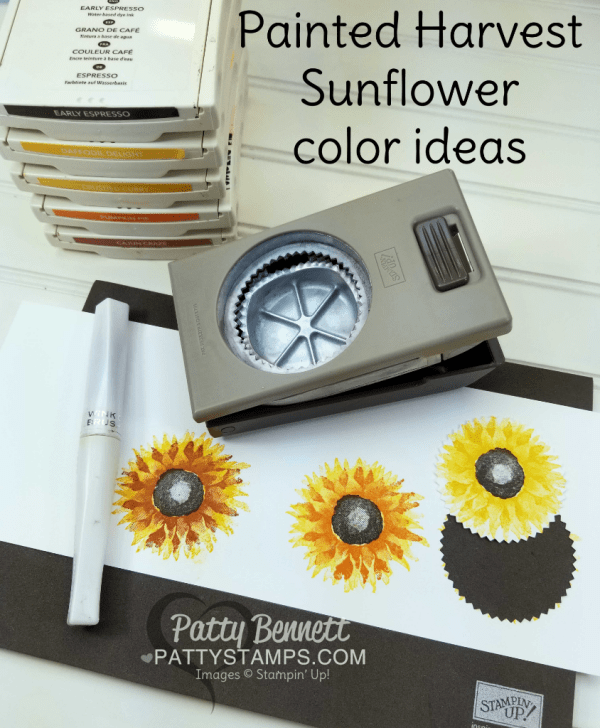 Painted Harvest stamp set sunflower stamping tips by Patty Bennett.  Stampin' UP! 2017 Holiday catalog.