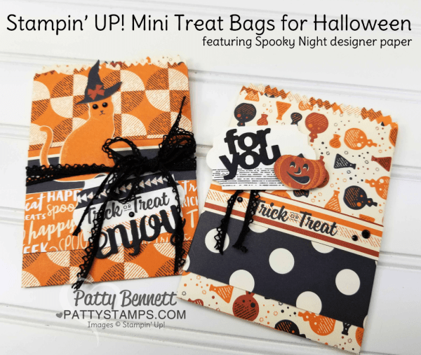 Spooky Night mini treat bags for Halloween featuring Stampin' Up! Spooky Night designer paper, Cat Punch and Spooky Cat stamp set, by Patty Bennett