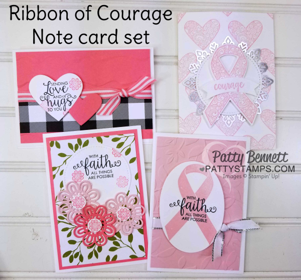 Ribbon of courage kit note card set stampin up pattystamps cancer faith courage
