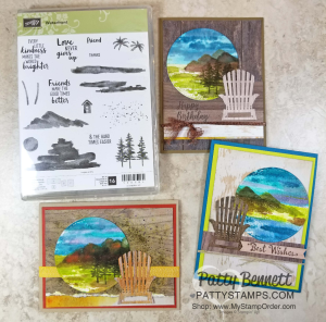 Waterfront cards handstamped by Patty Bennett featuring mountain scenes and die cut Adirondak chairs
