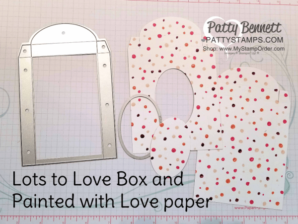 "Easter Candy Treat box idea featuring Stampin' UP! Lots to Love box framelits, Painted with Love designer paper and cute bunny stamp from the ""A Good Day"" stamp set, by Patty Bennett"